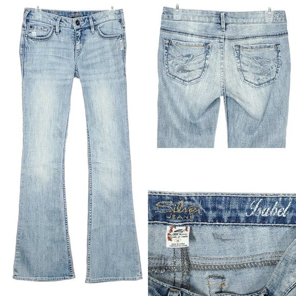 SILVER JEANS Isabel FLARE Jeans Low/Mid Rise Light